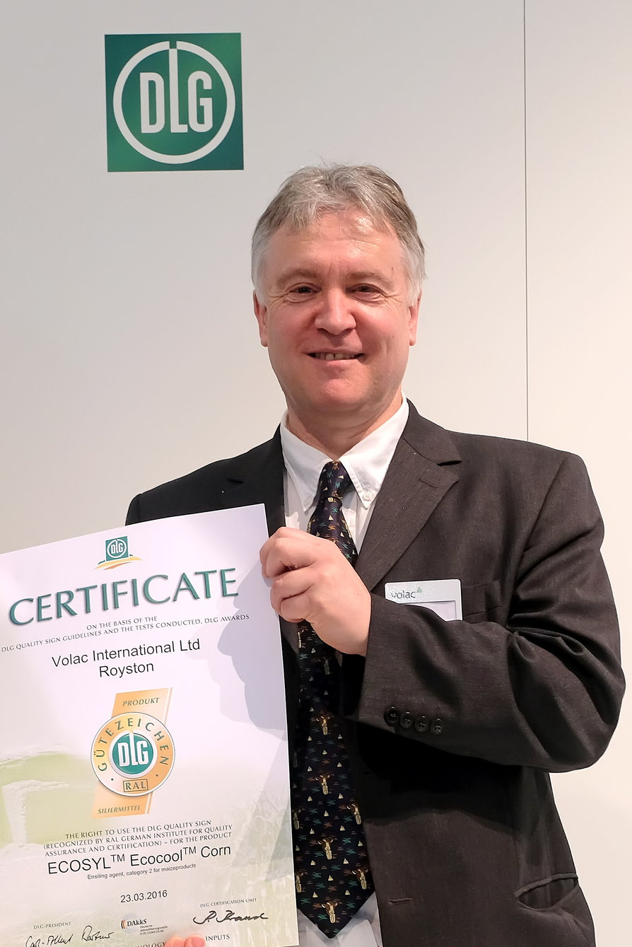 Volac's Philip Jones with the new DLG approval certificate for Ecocool for improving the aerobic stability of maize and wholecrop cereal silages.